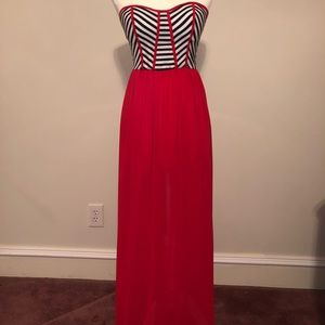 Red black and white strapless maxi dress